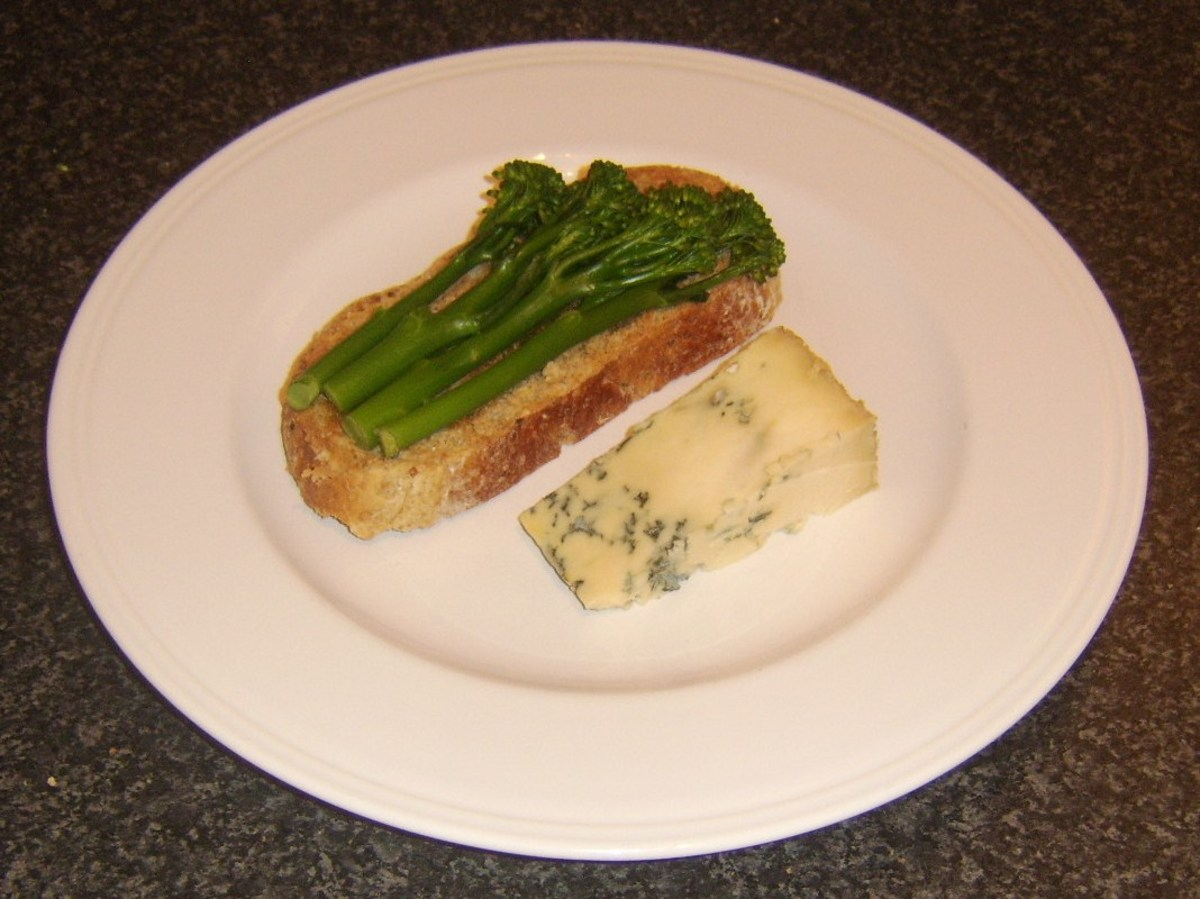 Stilton cheese is served with tenderstem broccoli on bruschetta