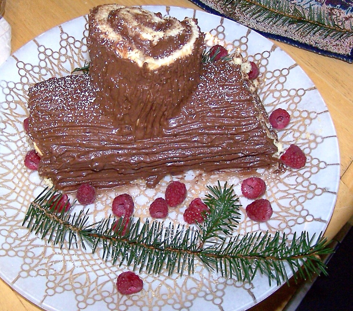 A Yule log cake or buche de Noel