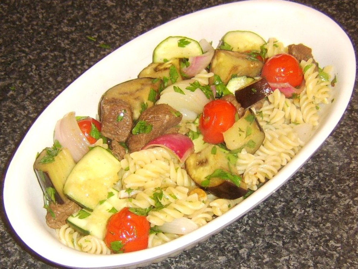 Succulent venison and rosilli pasta served with oven roasted Mediterranean vegetables