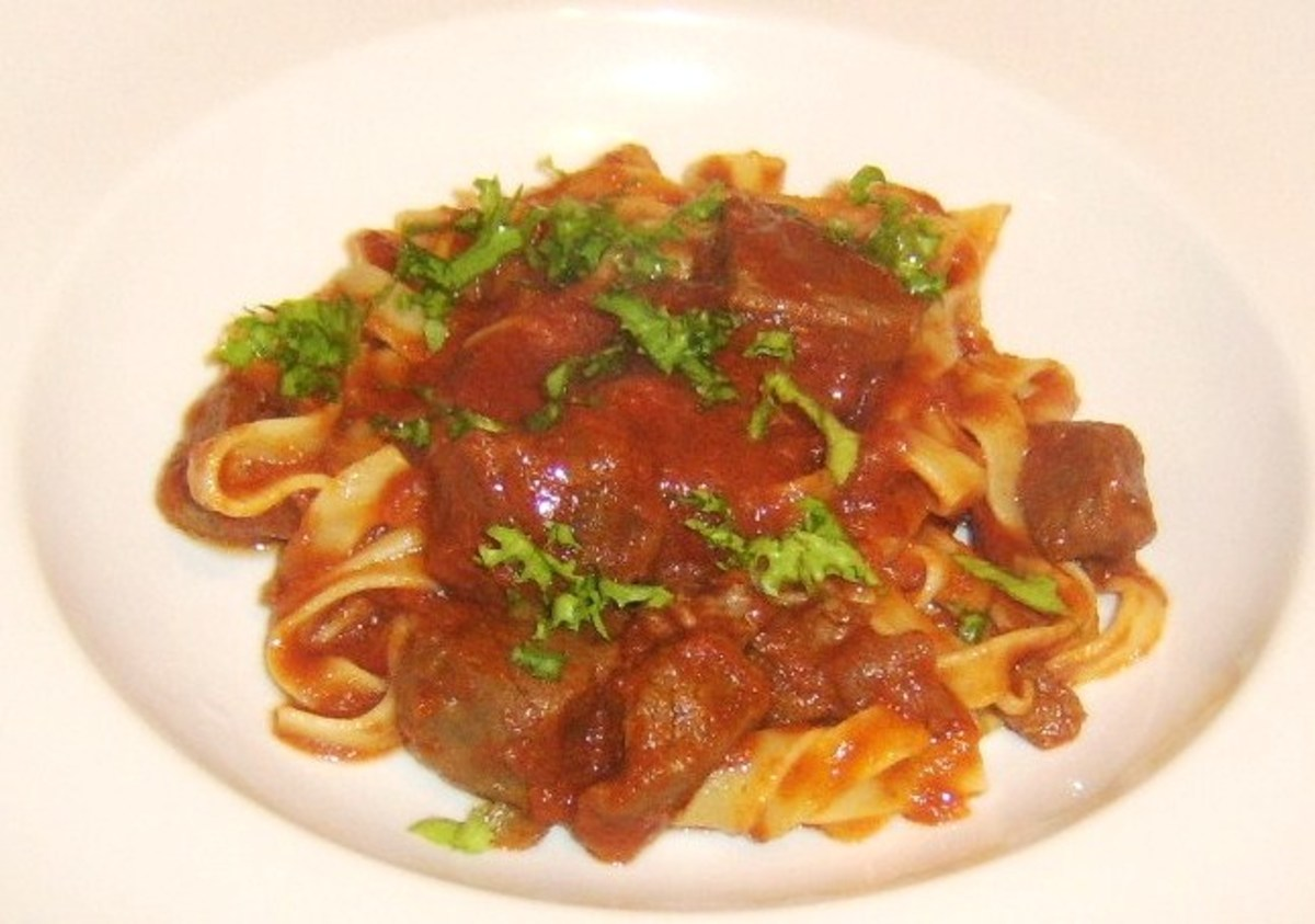 Tagliatelle pasta with a rich, slow cooked tomato and venison sauce