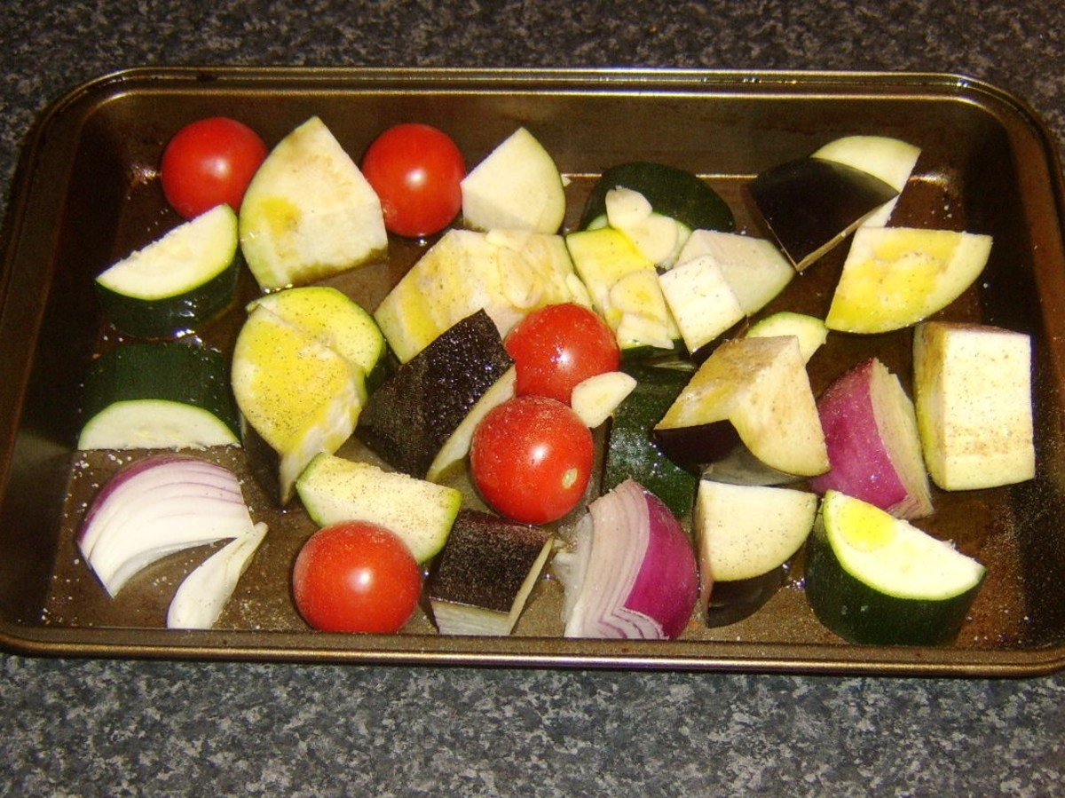 Mediterranean vegetables ready for roasting