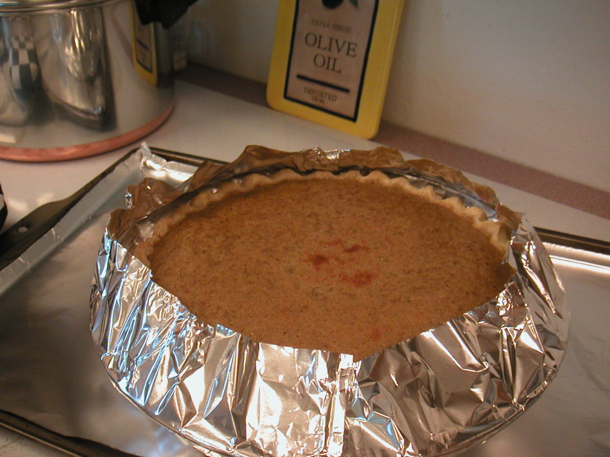 The foil skirt protects the crust from getting too brown during a long cooking time.