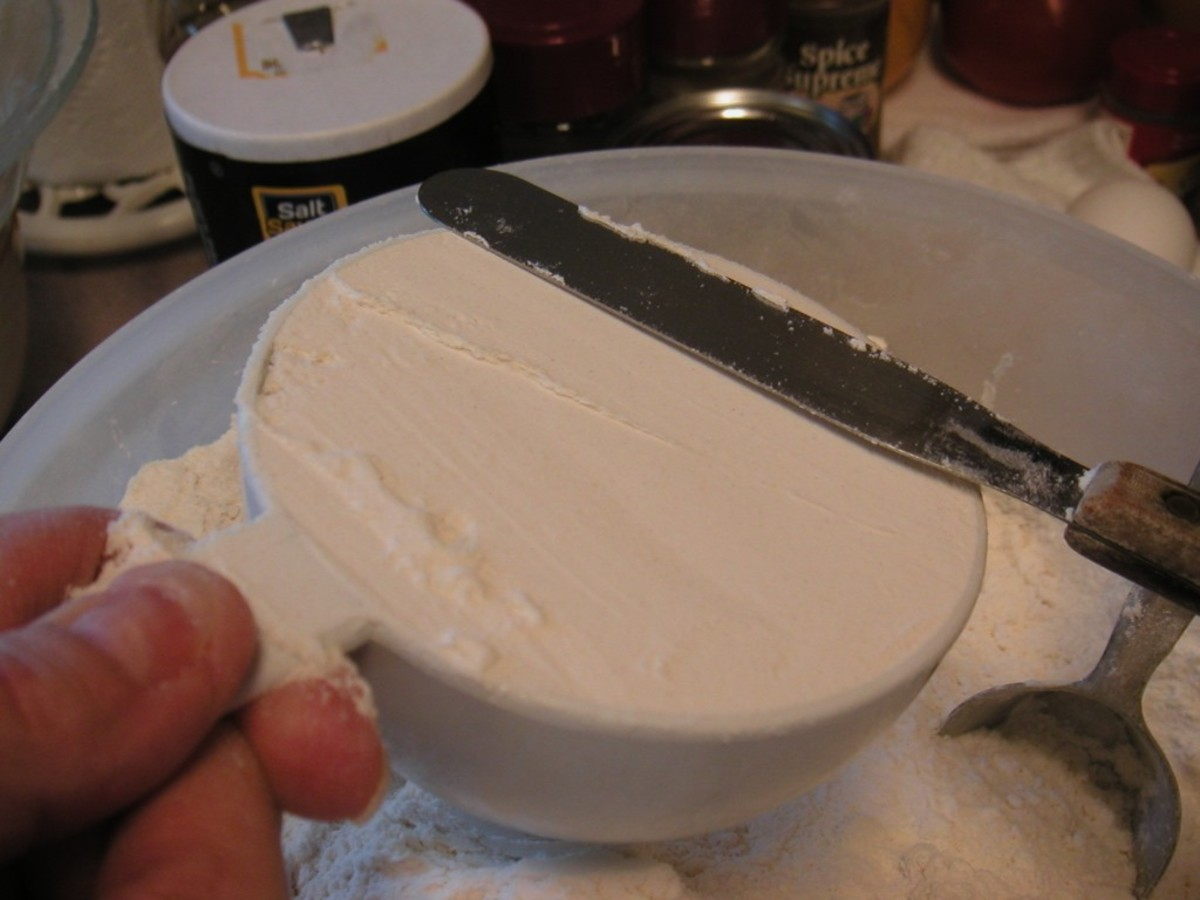 When measuring dry ingredients, use dry measuring cups and level off the top with a straight edge like a knife.