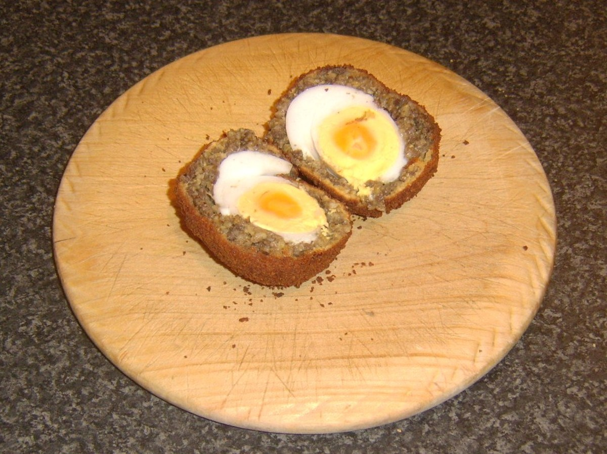 Haggis Scotch duck egg is halved