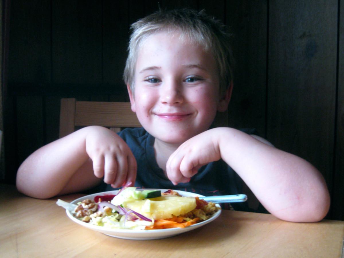 My son, enjoying his summer salad for the fourth night running.