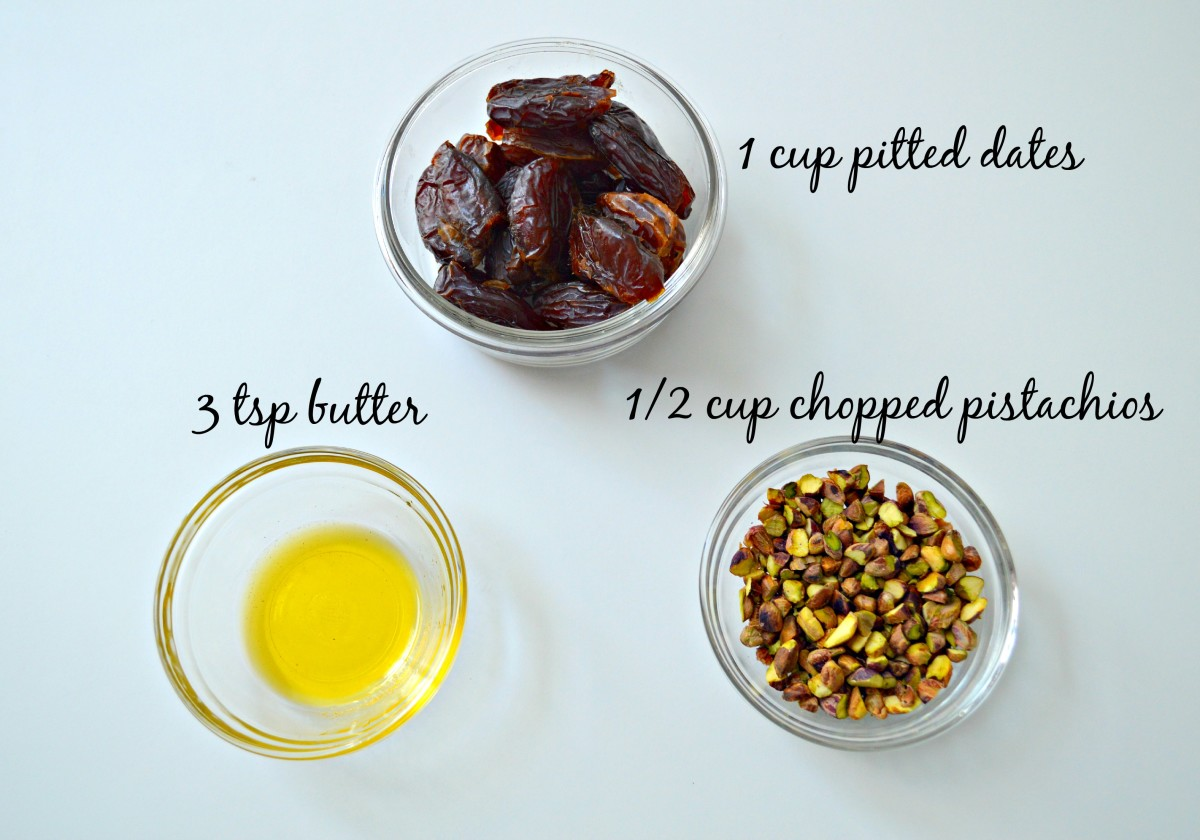 These are the only ingredients you will need to make your Pistachio Date Fudge. Yes, really!