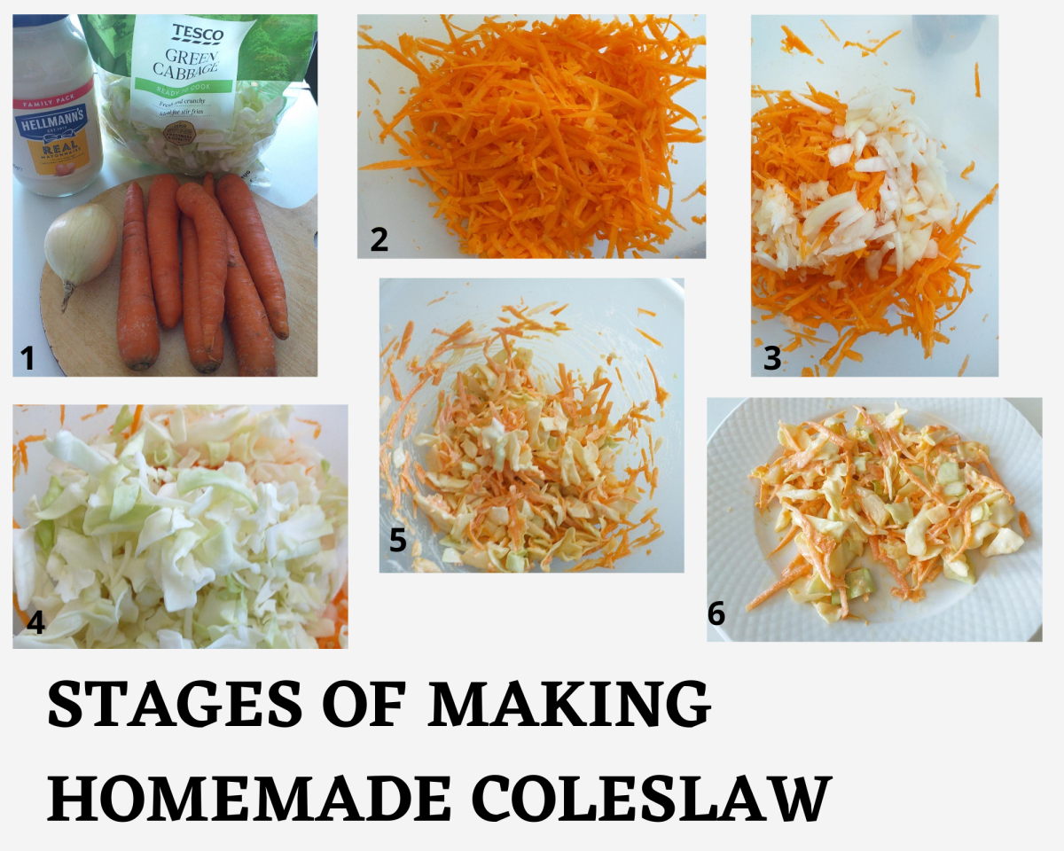 Stages of making homemade coleslaw