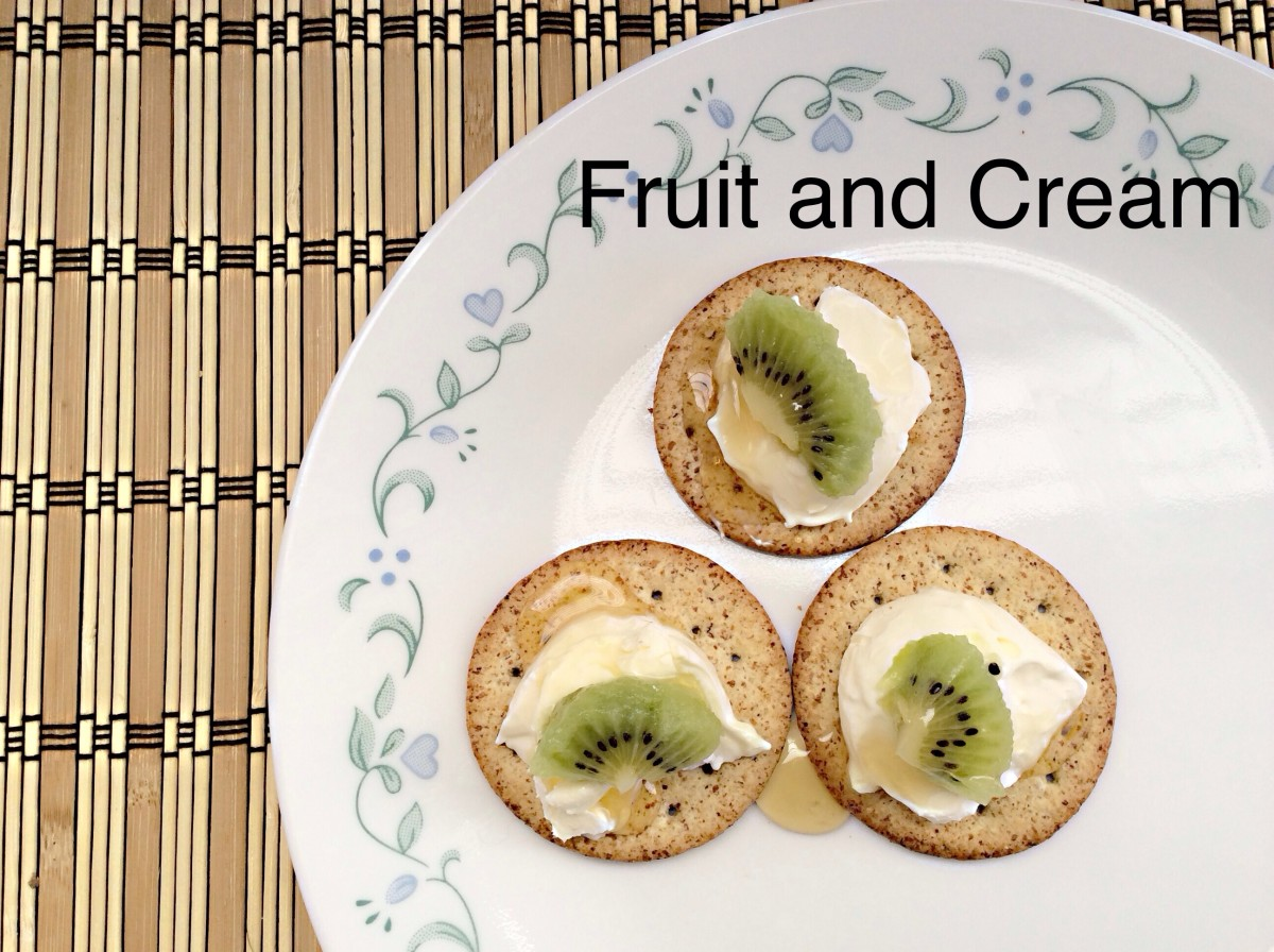 Devonshire double cream, kiwi fruit. and honey