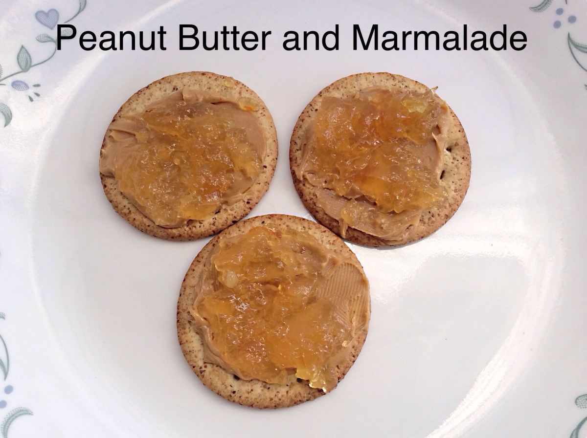 A peanut butter and Seville orange marmalade combination - very basic and very delicious!