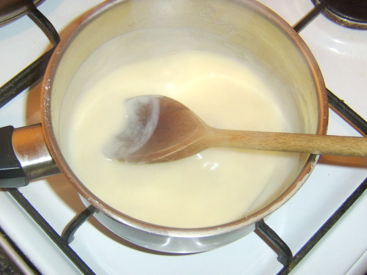 Milk added to cooked flour and butter