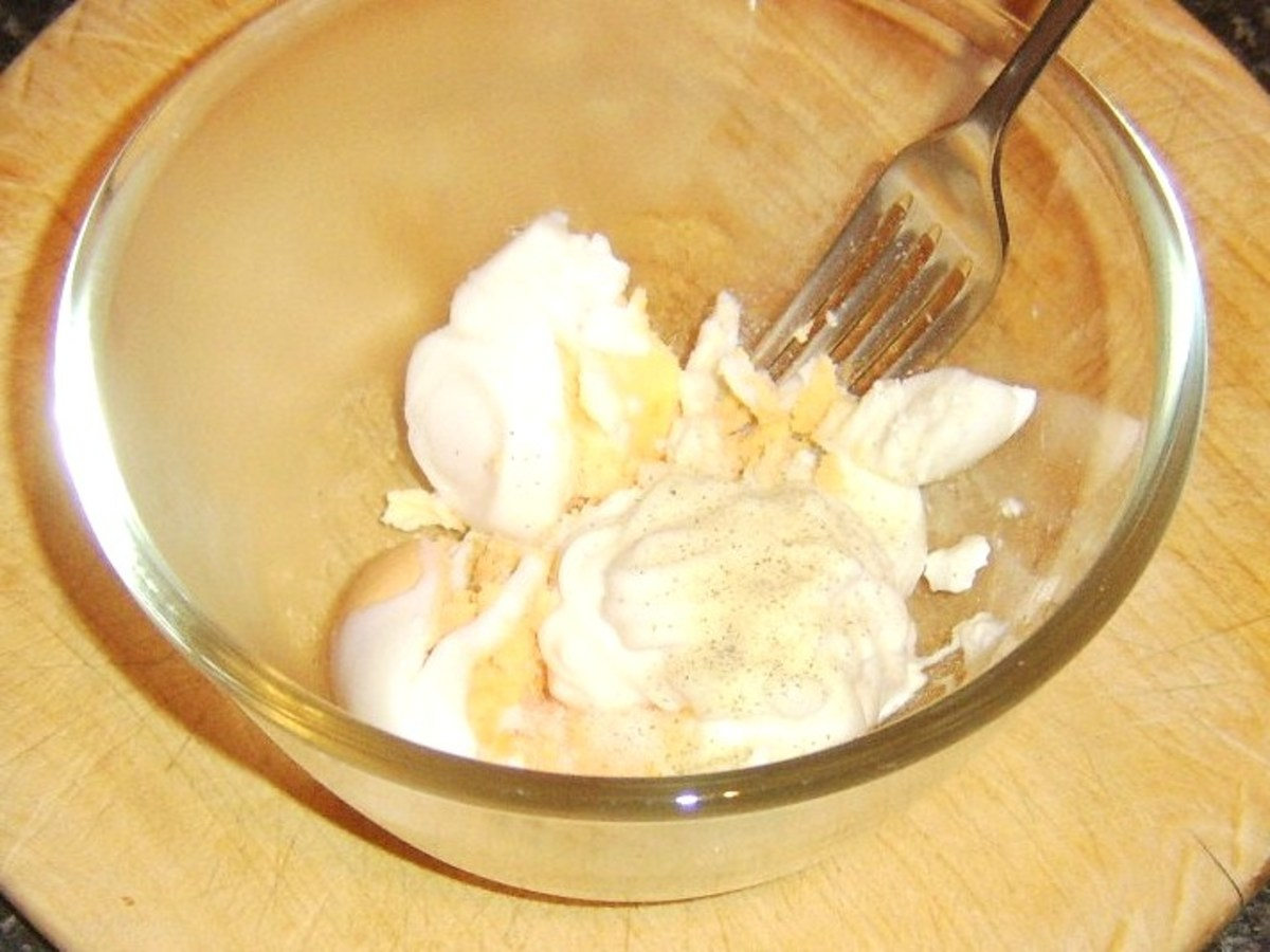 Mixing egg mayo ingredients