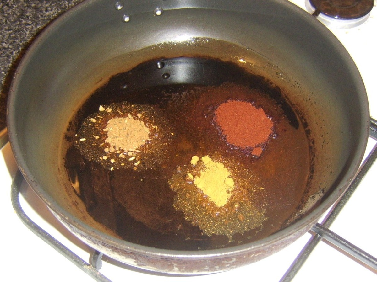Spices are gently fried in oil