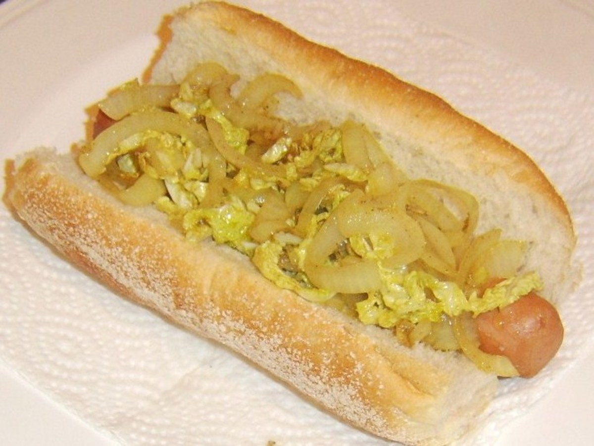 Sauteed cabbage, onion and garlic replace the more traditional topping that is sauerkraut on this hot dog