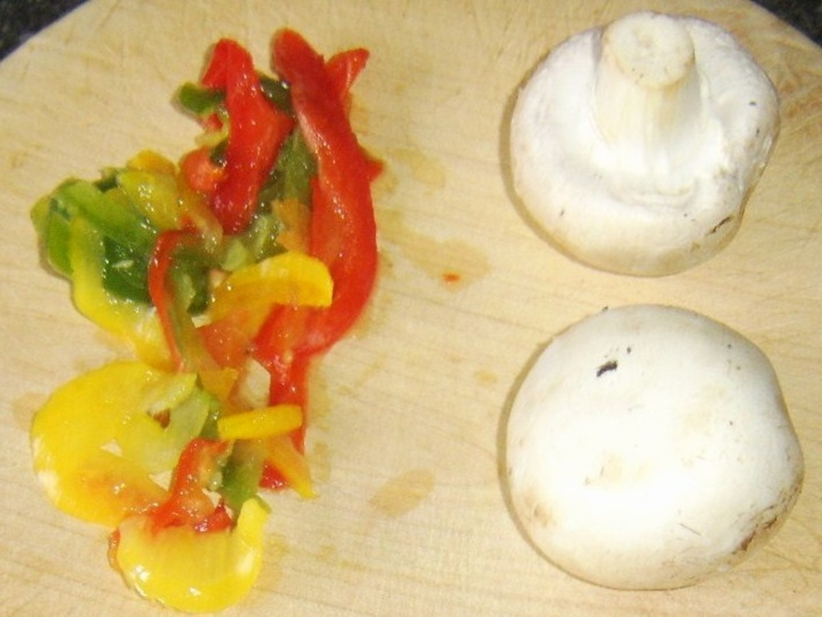 Mushrooms and mixed sliced peppers