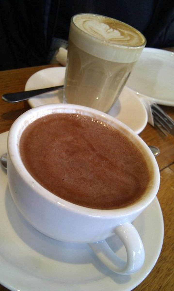 Hot chocolate, with a latte (?) in the background.