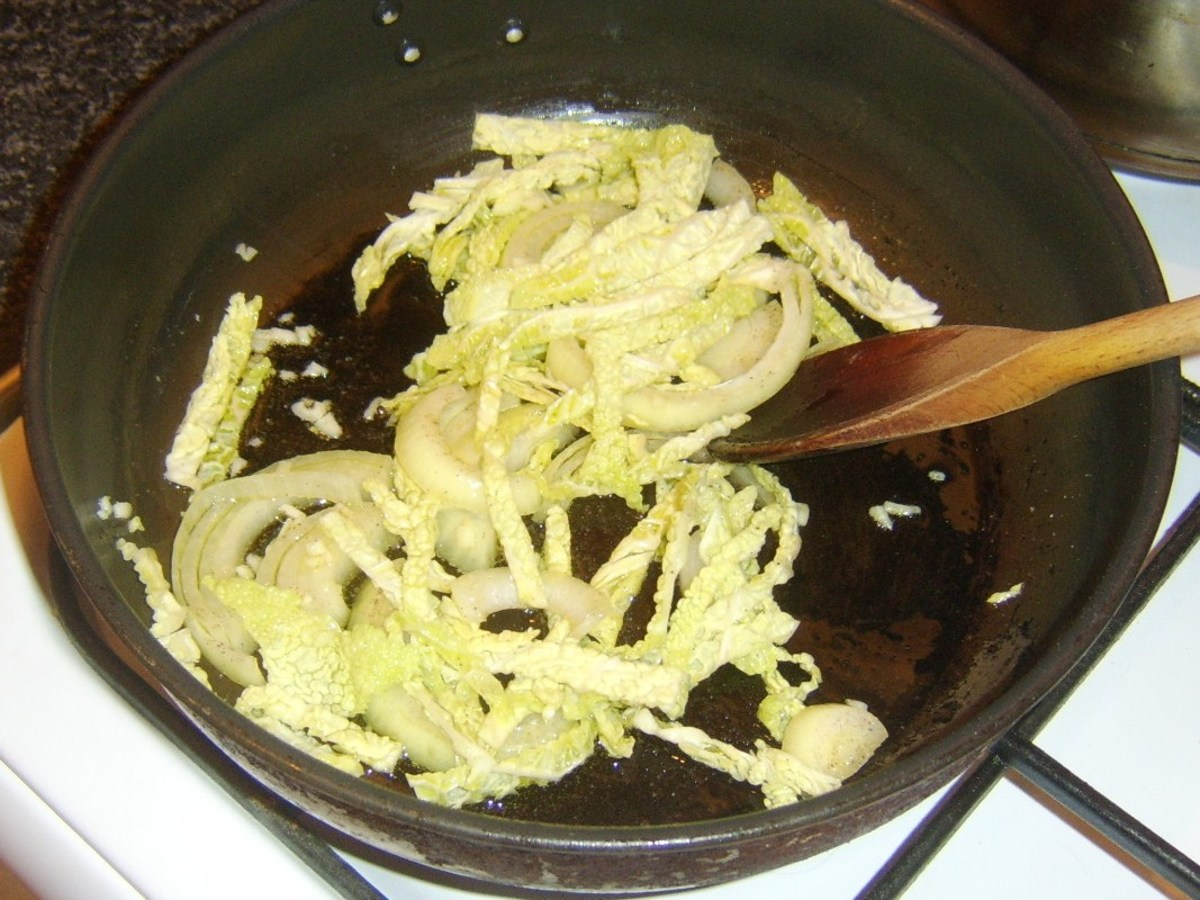 Sauteeing cabbage, onion and garlic