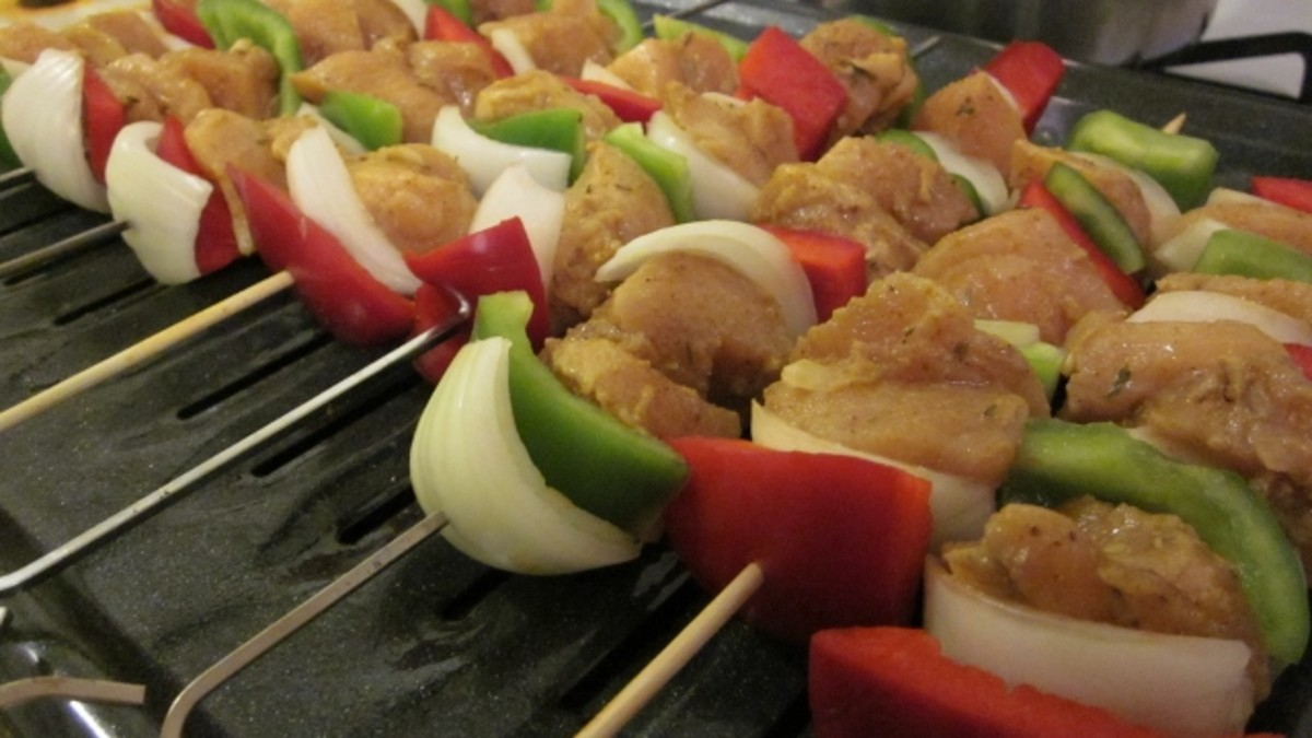 Curry chicken kabobs are tasty with or without banana pepper garnish. Be creative and add your favorite vegetables.