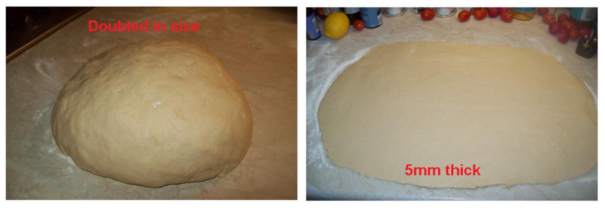 Handling the dough mix.
