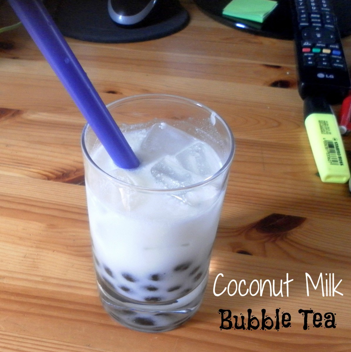 DIY Bubble Tea with Coconut Milk and Boba.