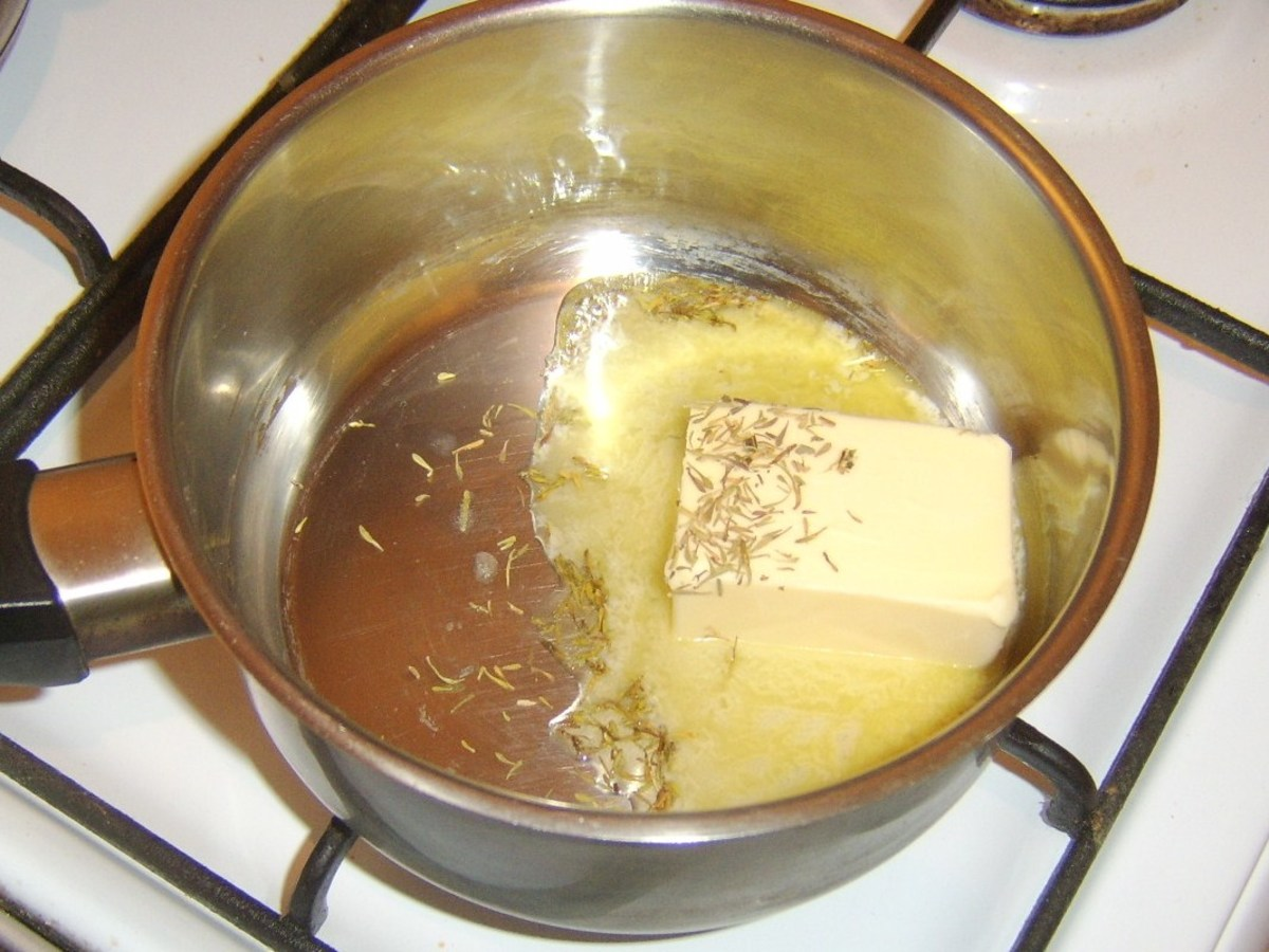 Melting butter with dried thyme