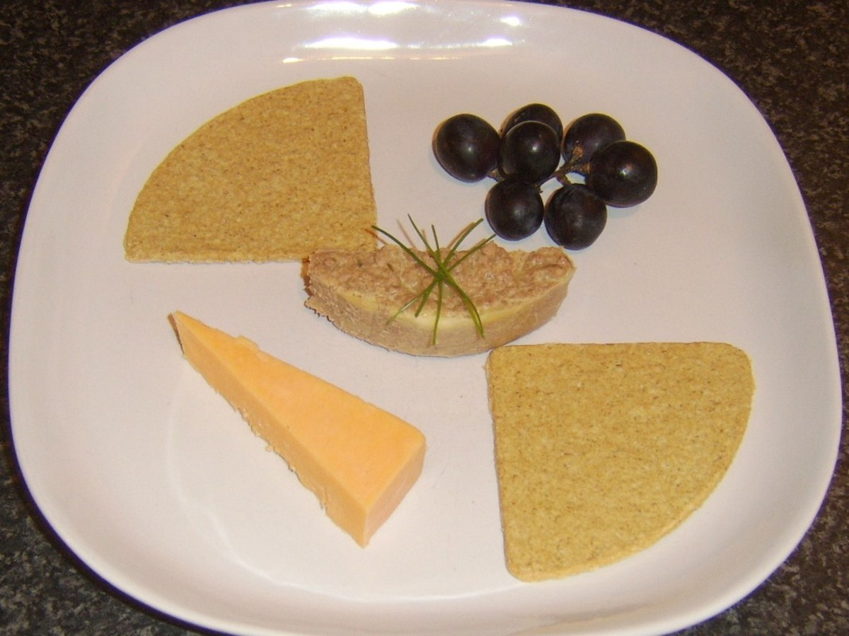 Ox liver pate with oatcakes, Red Leicester cheese and black grapes