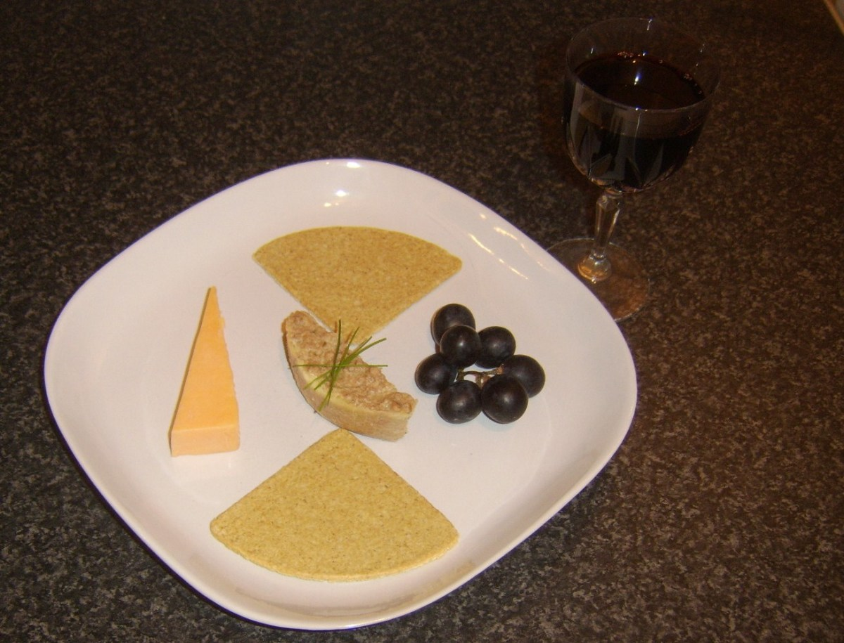 Ox liver pate served with Scottish oatcakes, Red Leicester cheese and port