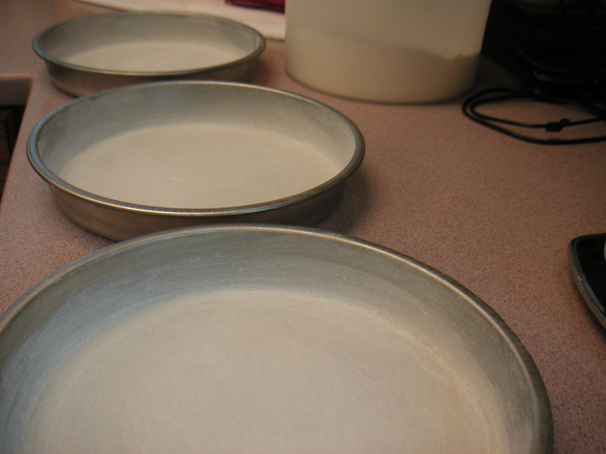 Greased and floured cake pans