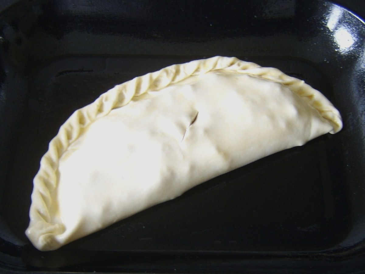 Spicy corned beef and cabbage pasty ready for the oven