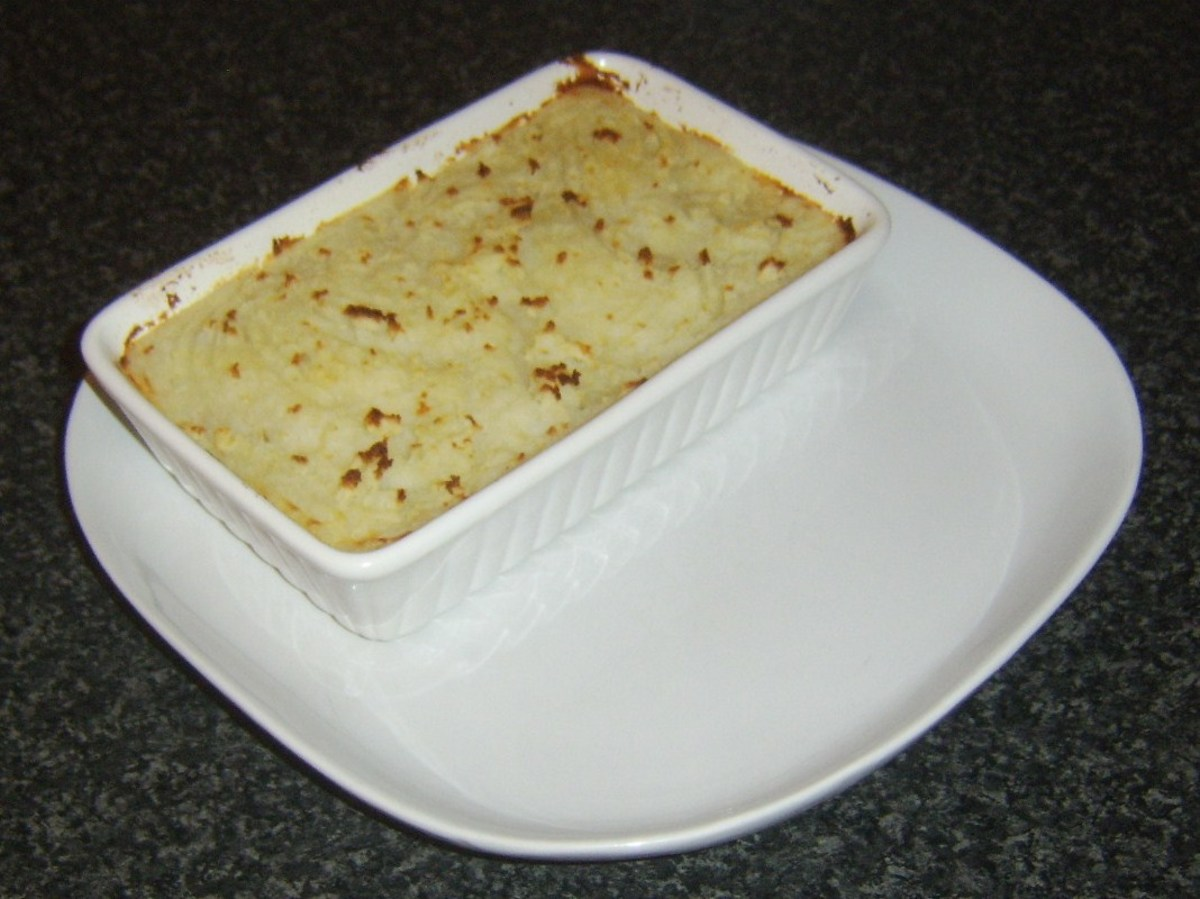 Browned cottage pie is plated