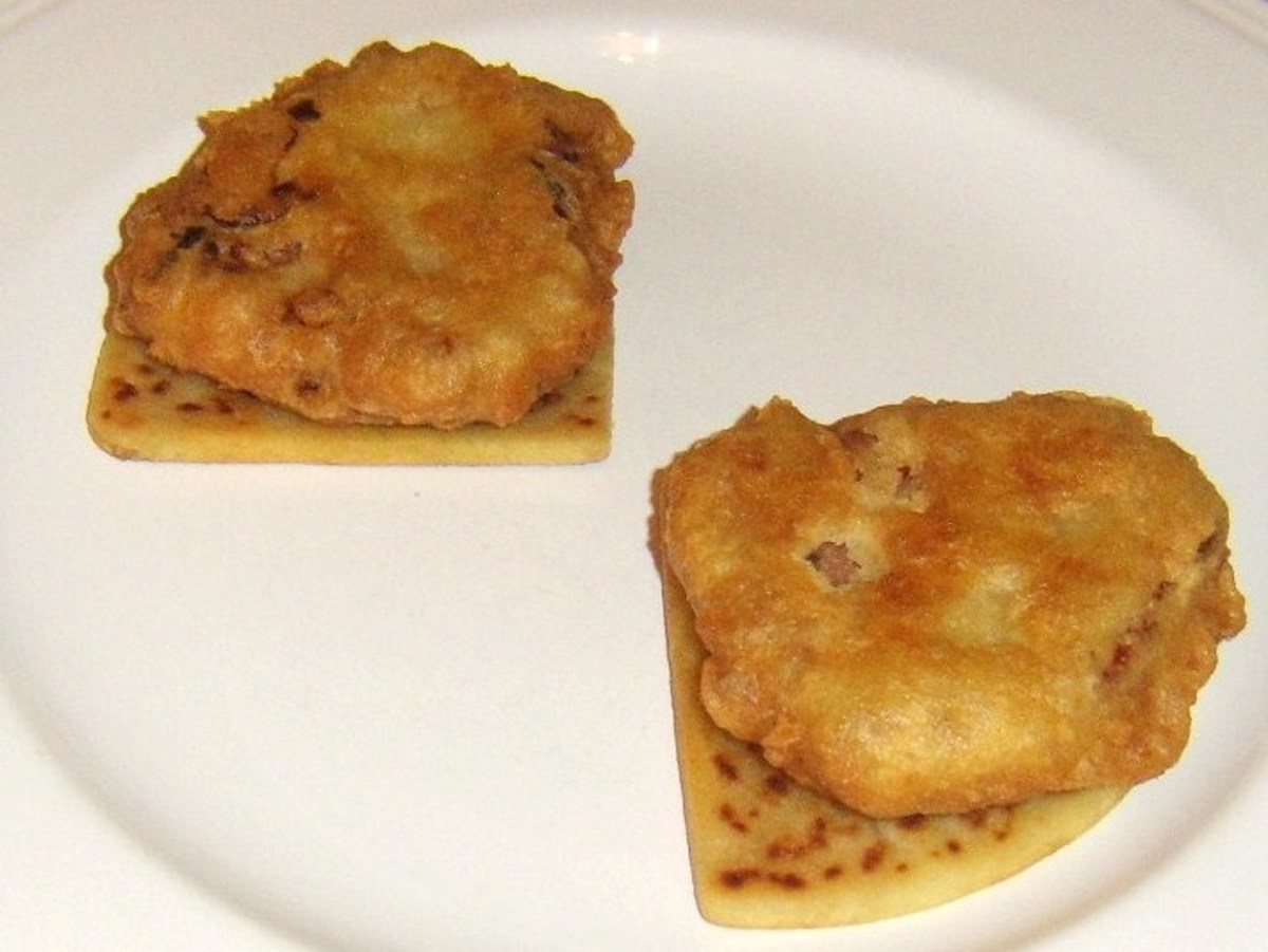 Corned beef and cabbage fritters on tattie scones