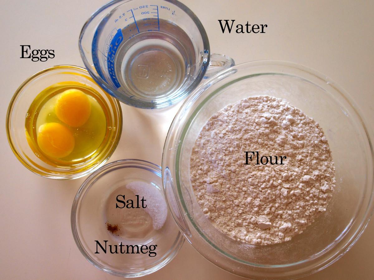 Ingredients needed to make spaetzle.