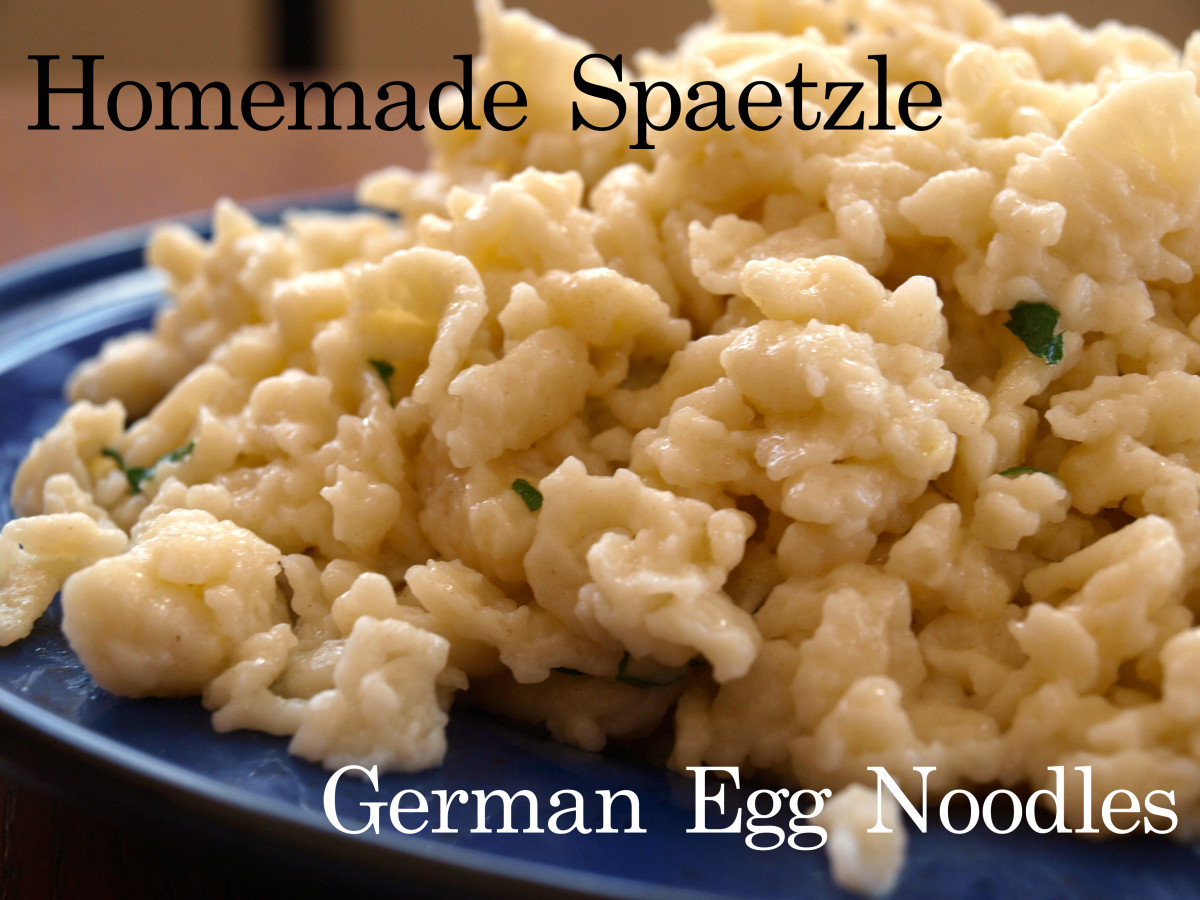 Homemade spaetzle fried in butter and sprinkled with parsley.  Delicious!
