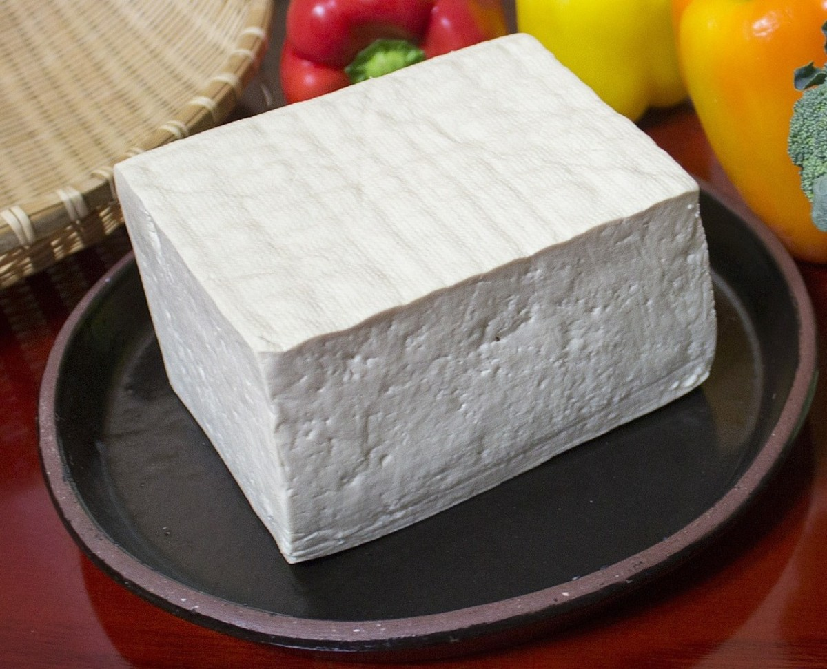 A block of firm tofu