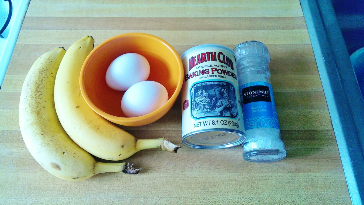 All the ingredients you will need for flourless banana pancakes. 1 1/2 bananas, 2 eggs, baking soda and salt to bring our the sweetness (or butter when finished). And yes, you will need a little separate bowl to beat the eggs.