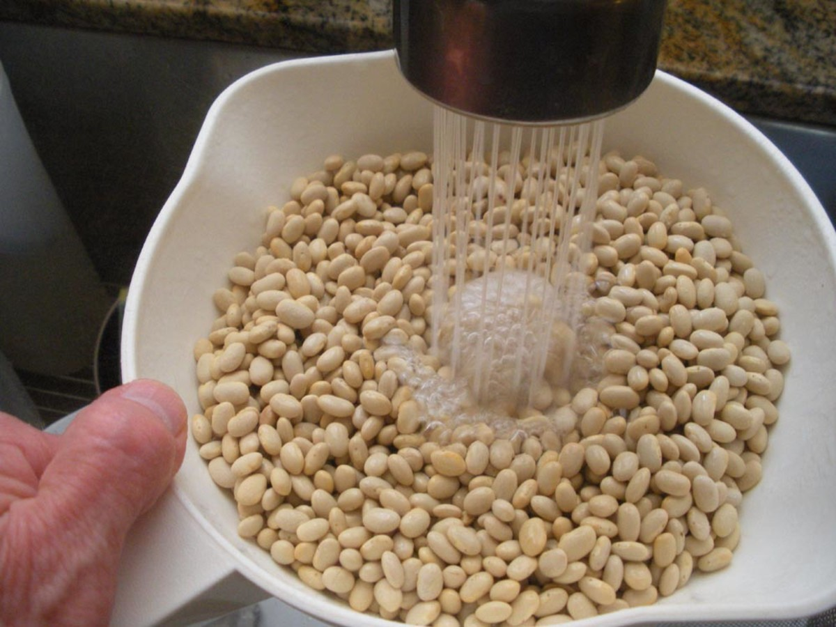 After sorting, rinse the beans to clear them of any bits of soil or tiny debris
