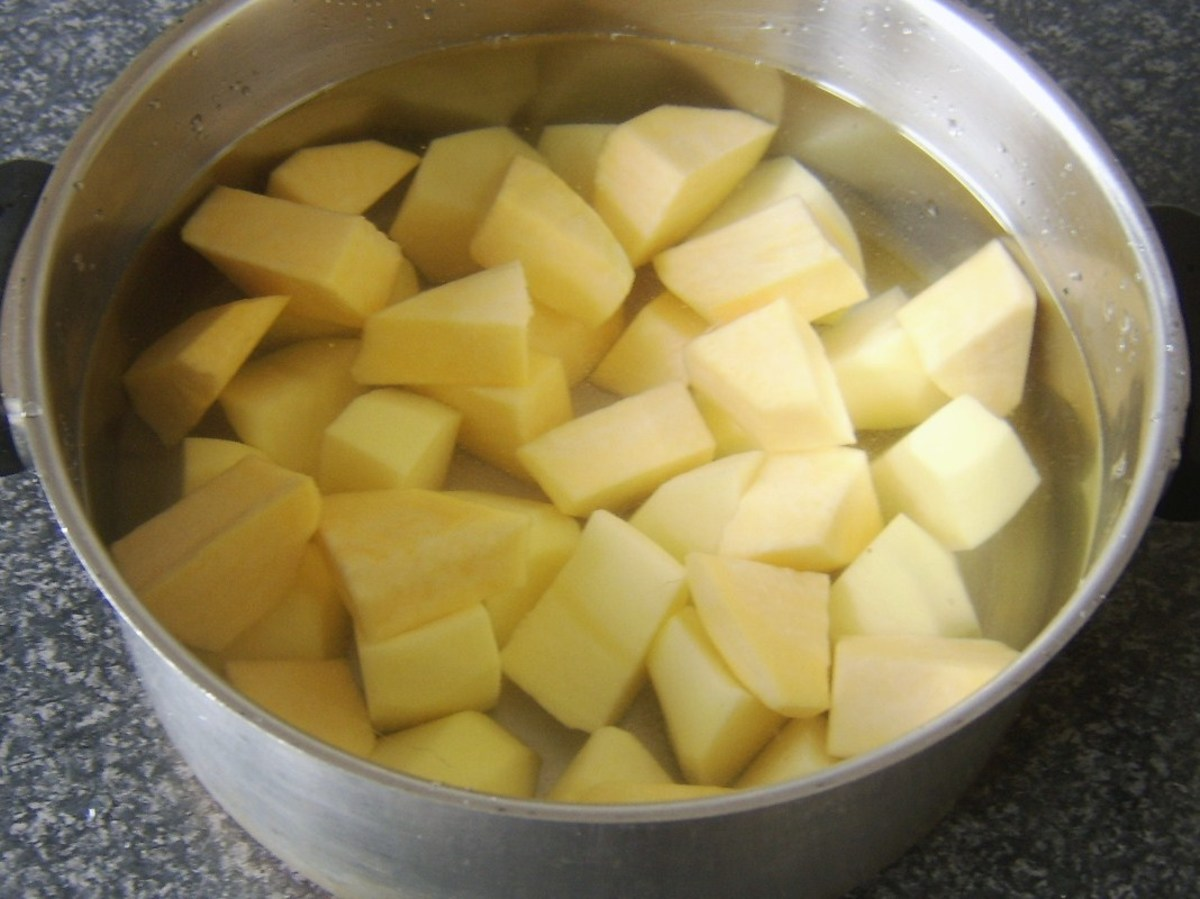Tatties and neeps ready for boiling