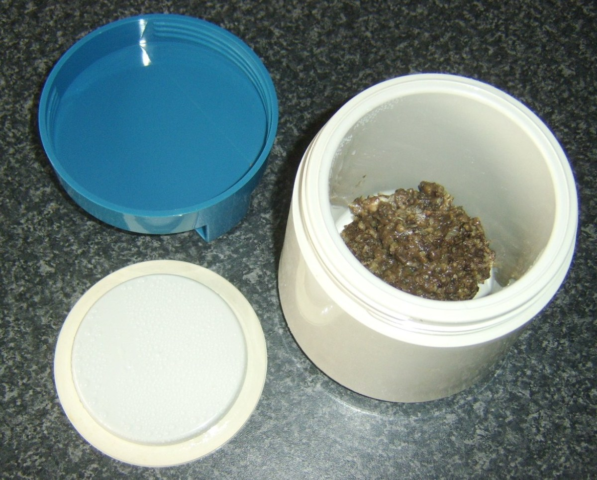 Haggis stuffing added to vacuum food flask