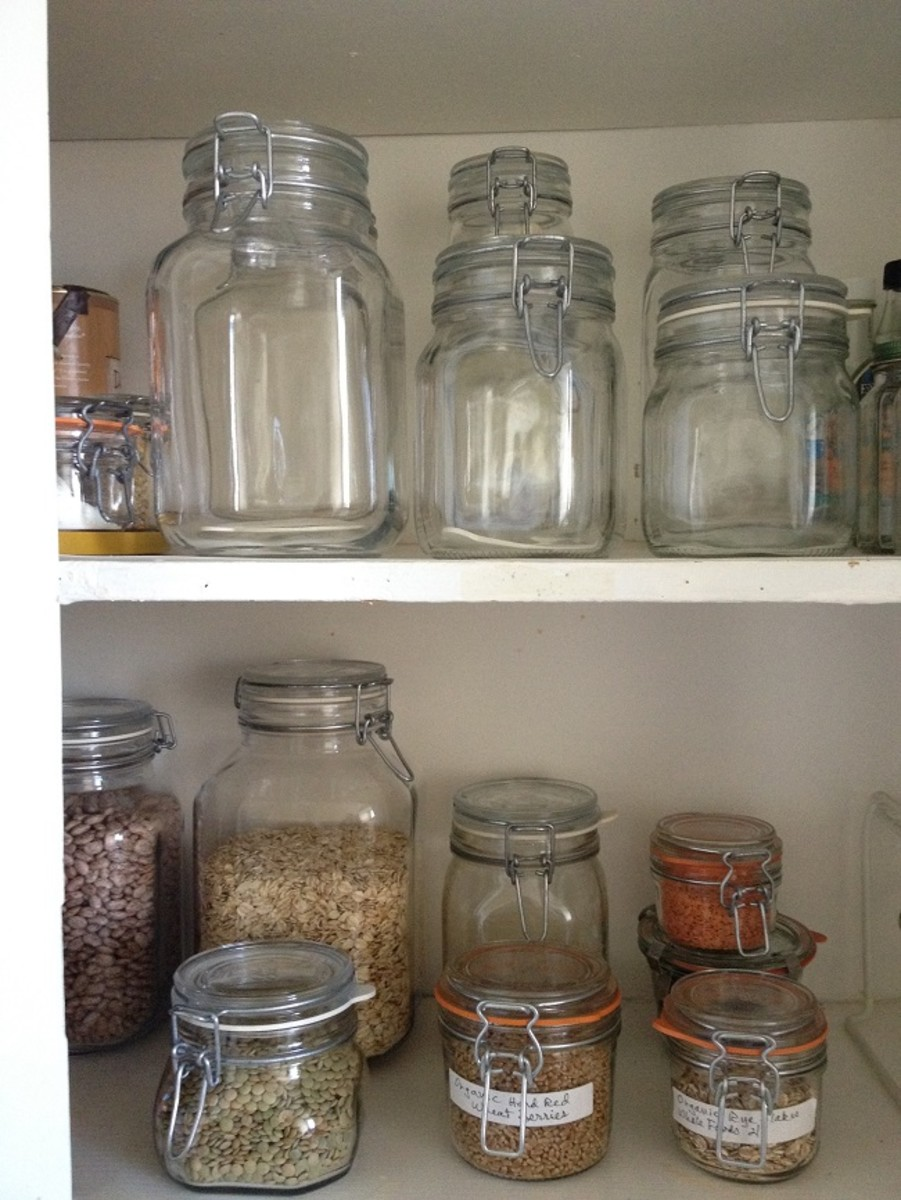 We always have a few jars of various sizes clean and ready for the next shopping trip. On the bottom shelf, you can see some of our grains and legumes