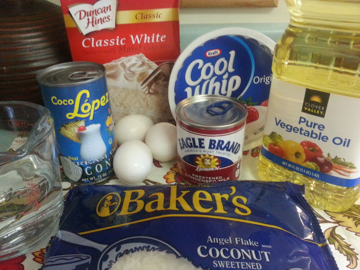 Ingredients to make this easy and moist Coconut Cake