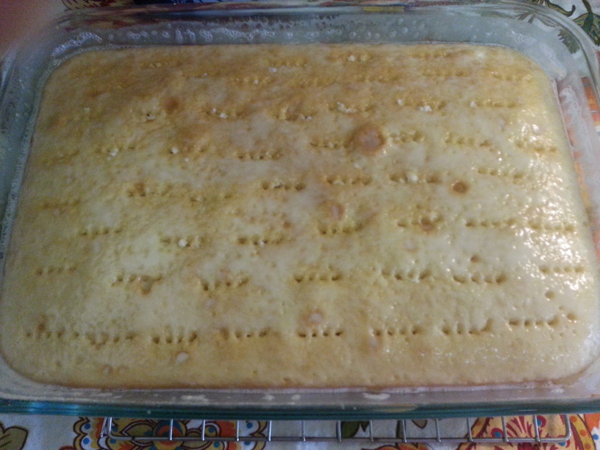The Real Cream of Coconut Milk/Sweetened Condensed Milk mixture has now absorbed into the cake.