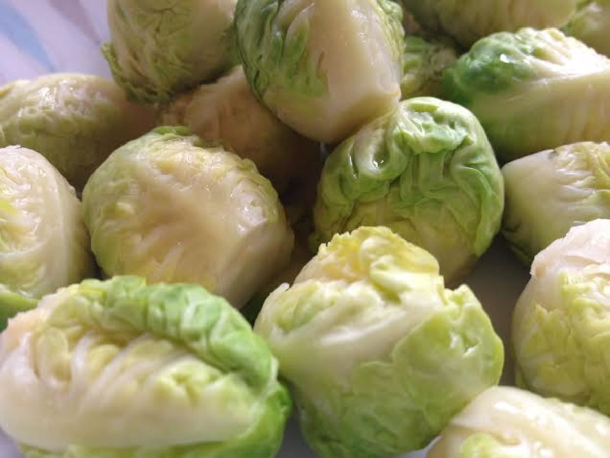 Steamed brussels sprout hearts.