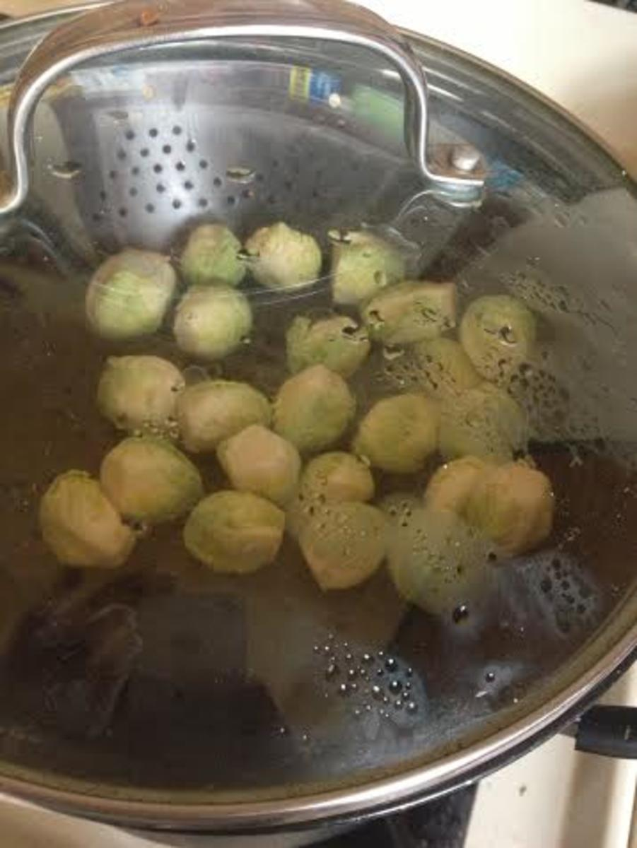 Allow the sprouts to steam for 5 minutes.  They will still be crunchy but slightly cooked through.