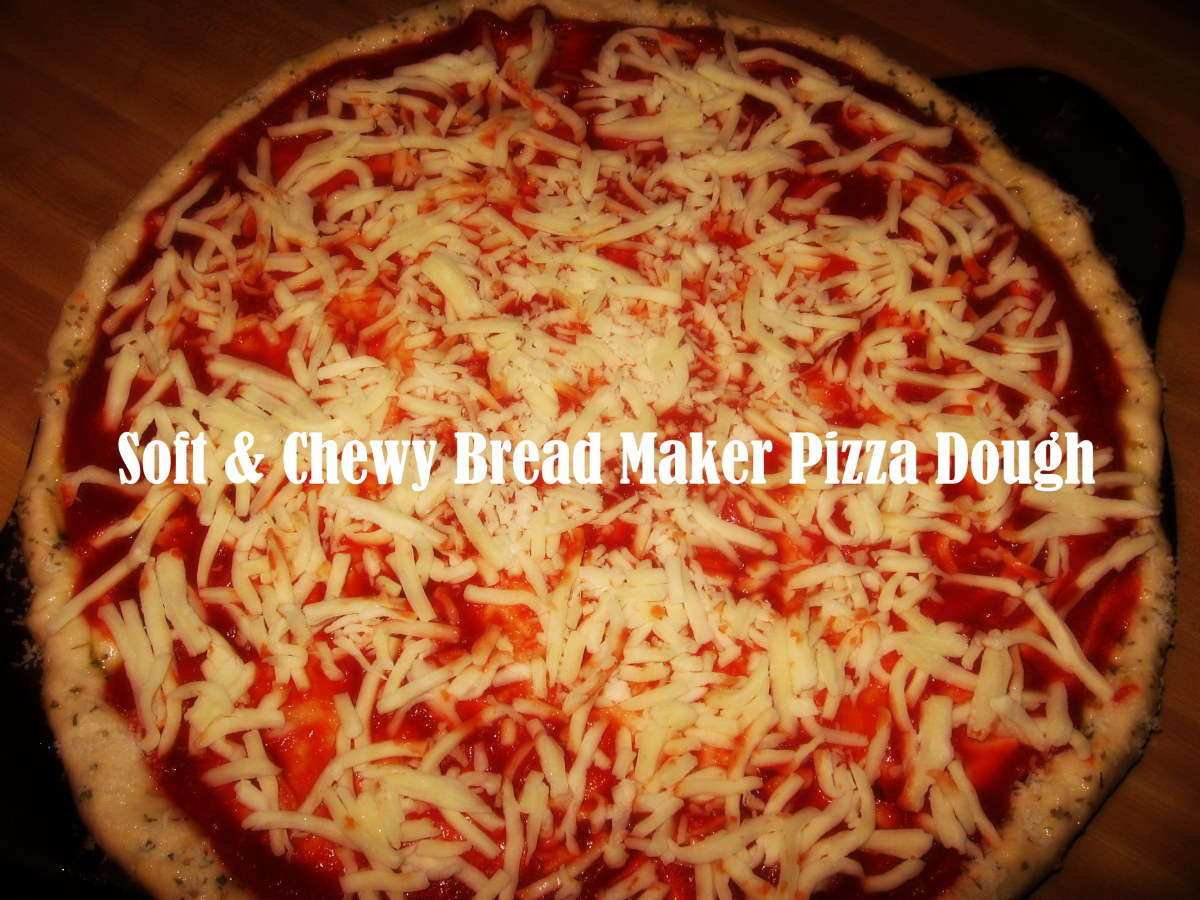 Soft and chewy bread-maker pizza dough easily transforms into pizza in just 15 minutes.