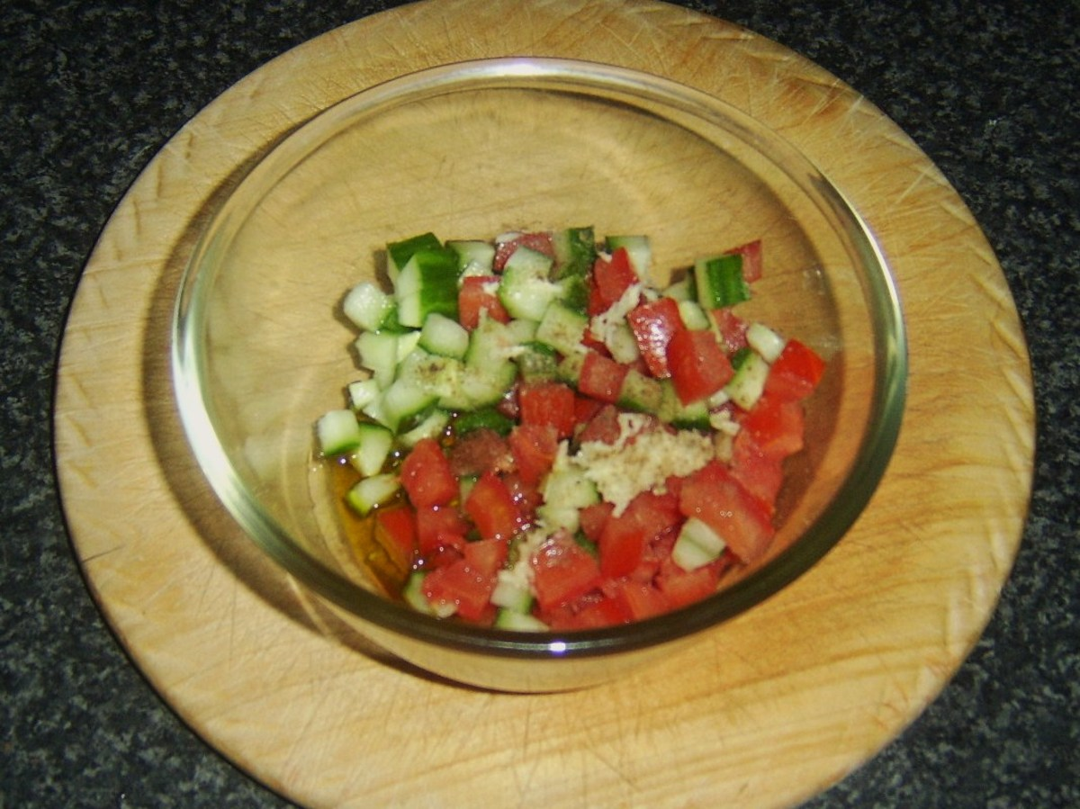 Combining salsa ingredients