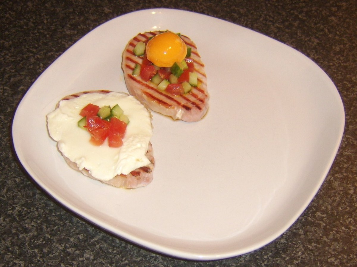 Egg yolk and remaining salsa are added to bacon medallions