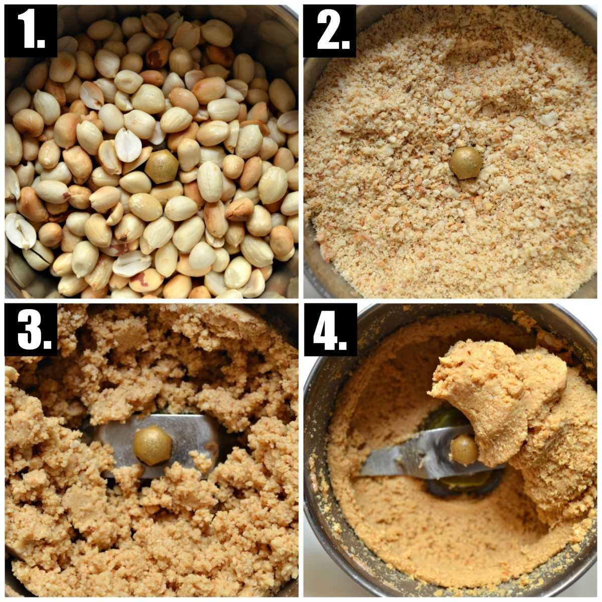 Steps to blending peanut butter. Grinding up the peanut butter is quite a process but takes no more than a few minutes!