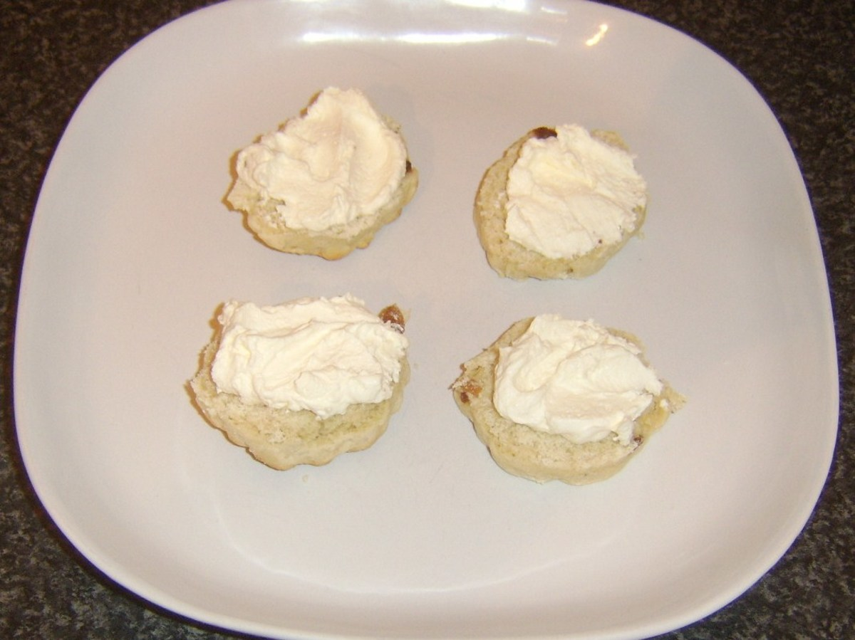 Cream spread on sultana scones