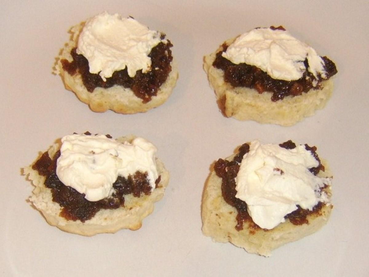 Cornish style Christmas pudding cream tea scones