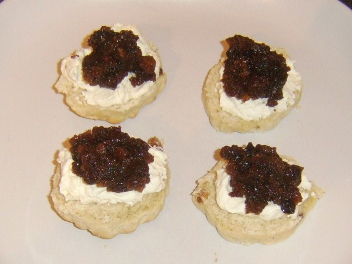 Devonshire style Christmas pudding cream tea scones