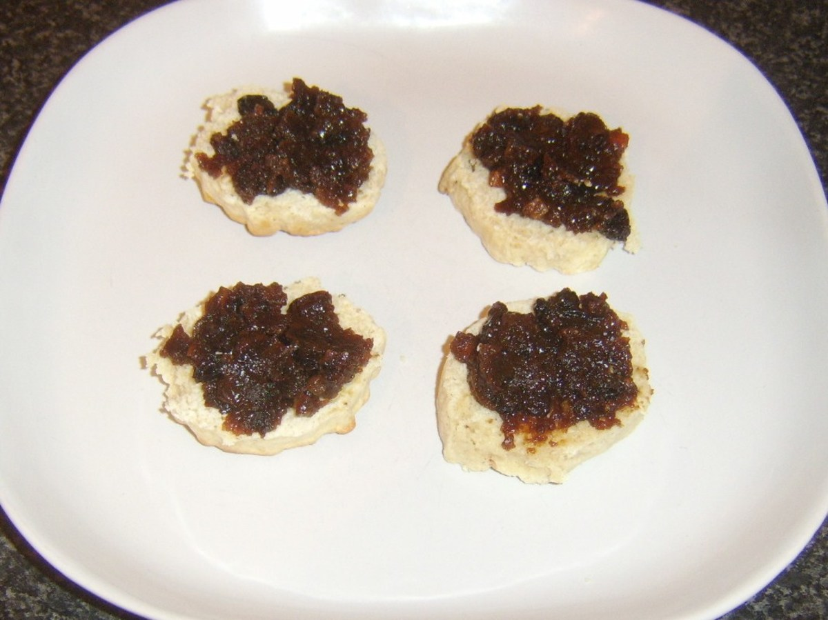 Christmas pudding spread on sultana scones